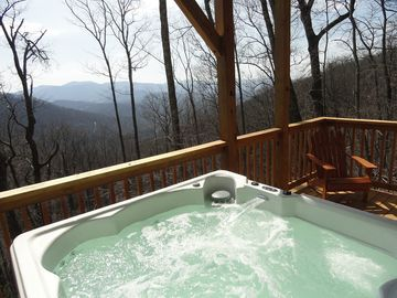 Asheville cabin rental - 6 person Hot Tub on lower deck to enjoy with friends or your sweetheart.