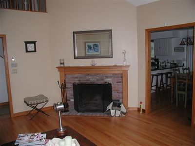 Edgartown house rental - Living Room w/ Fireplace connecting to dining area