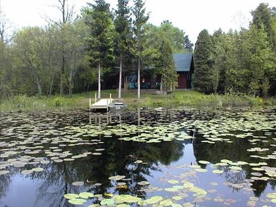 Front view of Cabin on private lake