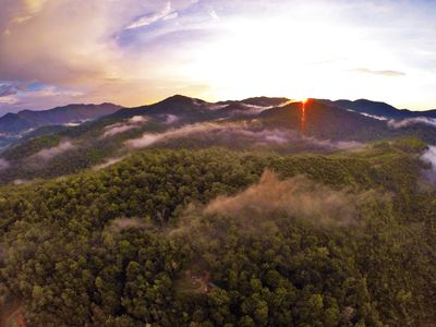 Sunset over the Nantahala National Forest backyard.  Can you see the cabin?