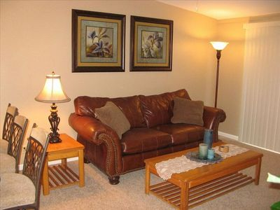 Fountain Hills condo rental - Living Room with oversized leather couch.