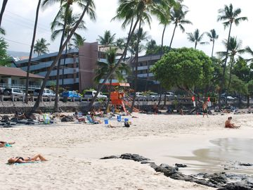Kailua Kona condo rental - White Sand Beach with condo in background.