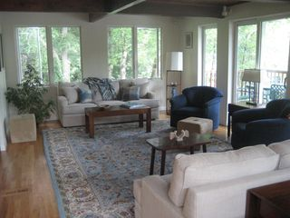 Ridgefield house photo - Living room with sliders to front deck.