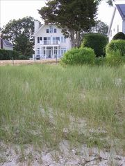 Aquebogue house photo - View from the beach path to the sandy swimming beach on the Peconic Bay