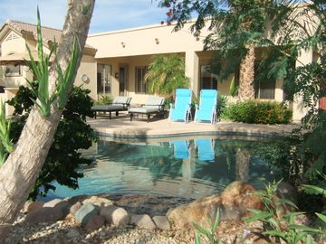 Mesa house rental - Private Paradise with a Pebble Tech Pool, Waterfall & Covered Seating Area