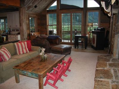 Living Room with Views of the Slate River and Surrounding Mountains
