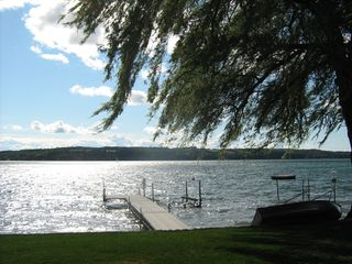 Skaneateles Lake, Skaneateles cottage photo - View of dock and boat hoist.