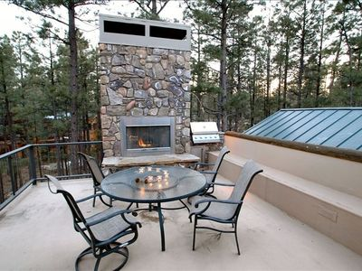 Upstairs Patio with Fireplace, BBQ Grill and Stunning Views