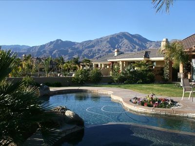 La Quinta house rental - View from the salt water pool and spa, one of the largest private yards