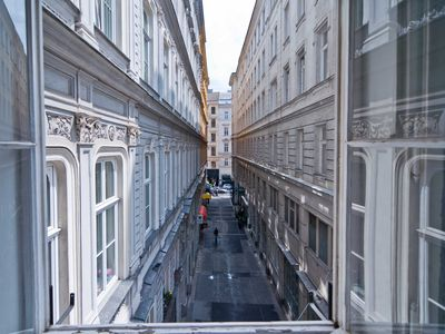 View from the living room: the very cute Kleeblattgasse