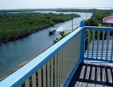 View mangroves and passingboats from 4th level lookout deck.