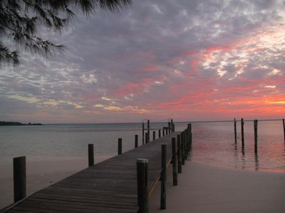 Sunset from your dock over the Sea of Abaco.