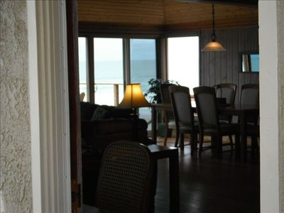 View from the kitchen through the great room to the ocean beyond.