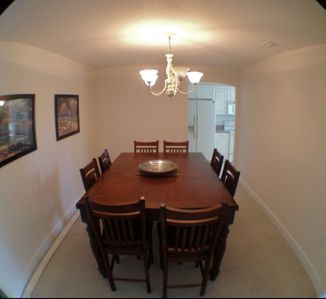 dining area with seating for 6, view from living room