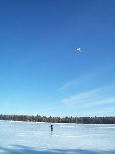 Nothing for your kite to get caught in on this mile wide,7 mile long frozen lake