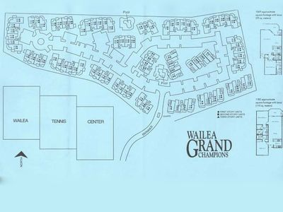 Site map of Grand Champions Villas. Unit 120 is in 3rd bldg. on left of entrance
