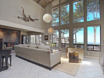 Carmel house rental - Open living area with view, fireplace and piano