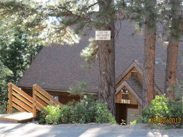 Yosemite National Park condo rental - Roadside view of cabin; Cozy Cub is the downstairs area of the cabin.