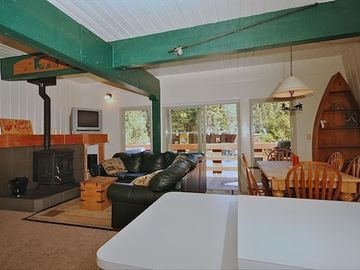 Alpine Meadows condo rental - Second Floor Living / Dining / Kitchen with Deck, Hot Tub & gas BBQ