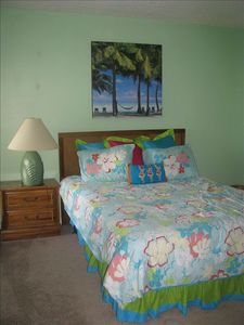 Master Bedroom with private bath, queen size bed with memory foam