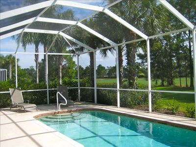Private 3BR, 2BA home w/ heated pool overlooking 2nd fairway. Golf pkg available