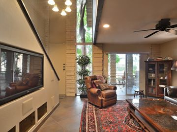 Old Town Scottsdale condo rental - Living Room, facing Front Door and Downstairs Patio.
