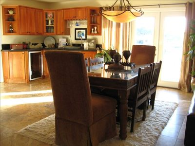 Arroyo Grande chateau / country house rental - One of 3 dining areas that opens to patio, wet bar behind, with wine fridge!