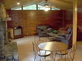 Original Cedar Walls and Native Stone Fireplace