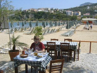 Eat by the beach in nearby Almirida...