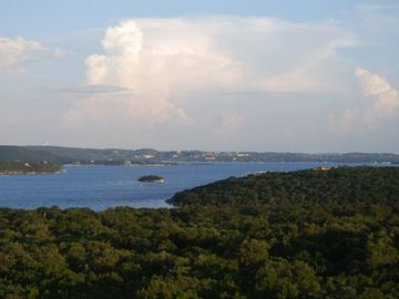 View of Lake Travis and Starnes Island from the balcony