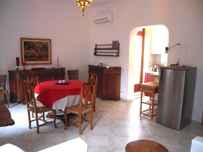 A view on the dining and living room
