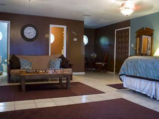 McAllen house photo - This spacious bedroom has a futon, big bathroom, TV, frig & micro