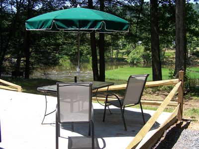 Seebert cabin rental - Jeff's Place has this great Patio so ... Sit by the Greenbrier River!