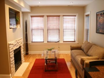 Chicago apartment rental - Familyroom with flat screen HD tv, with pull out couch