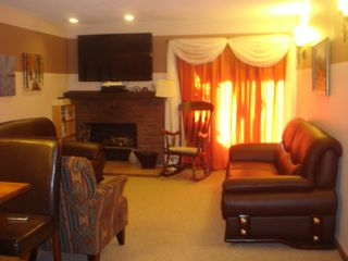 Killington condo photo - Enjoy coffee & conversation while getting cozy on these Top Grain leather sofa's