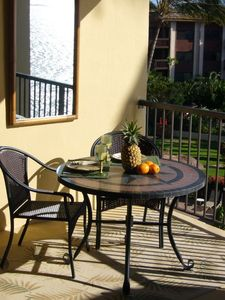 Dine inside or alfresco on the lanai overlooking ocean and gardens