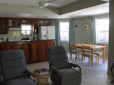 Kitchen and dining area from living room