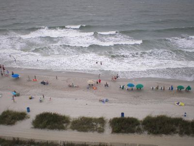 A view of the beach from our balcony.