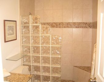 Master Bath with Glass Block Walk in Shower
