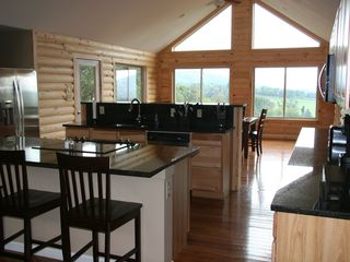 Luray cabin photo - large kitchen with stainless steel appliances and black granite counter tops.