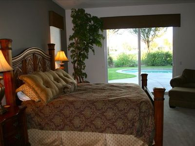 Master bedroom with king bed and a view of the Santa Rosa mountains