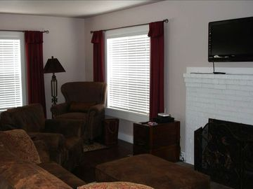 Cozy up infront of the fireplace and watch your favorite movie or TV shows.