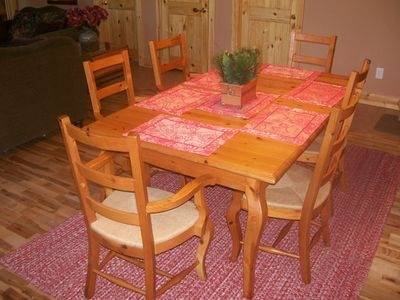 Packwood chalet rental - The dining table seats 8 with our extension and extra chairs.