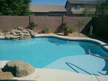 Maricopa house rental - Our heated pool with waterfall.