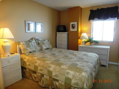 Bedroom 3 with long Queen, ocean view & 15'' TV/DVD Player, shared Bath
