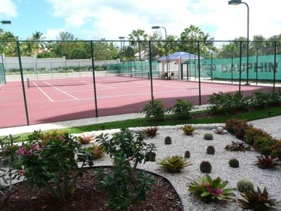 Tennis court with flood lights