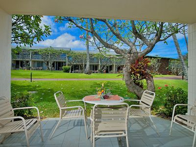 Roomy lanai is a short walk away from the pool
