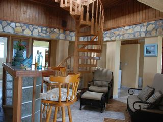 Great Exuma house photo - Bar Area with Spiral Stiarcase to 2nd Floor Deck