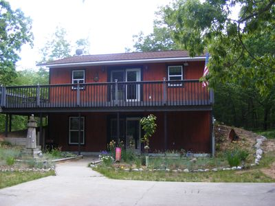 Silver Lake cottage rental - Hill Top is tucked away on top of a small hill completely surrounded by trees.