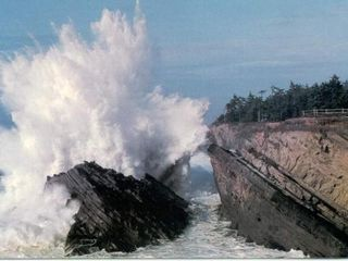 Coos Bay house photo - Unbelievable Spray from Waves Hitting the Rocks